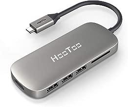 محور HooToo USB C ، محول ممتاز 6 في 1 مع منفذ شحن PD ، مخرج HDMI 4K ، قارئ بطاقات، 3 منافذ USB 3.1 للكمبيوتر المحمول من النوع C (MacBook Pro ، Chromebook ، Dell)