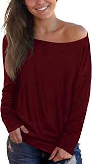 Sipaya Womens Loose Fit T Shirts Batwing Sleeve Off The Shoulder Tops