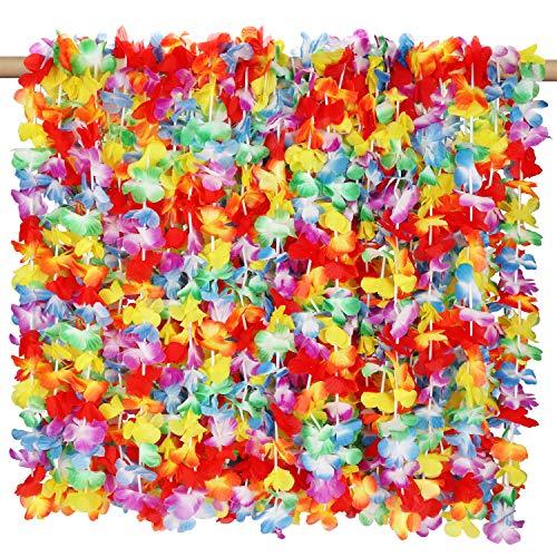 Kurtzy Hawaiian Garlands (50 Pcs) - Tropical Hawaiian Necklace Leis (50cm) - Hawaiian Luau Flower Set Perfect for Fancy Dress, Beach Theme Party Supplies, Decorative Favours