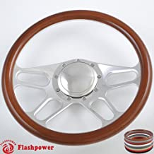 Flashpower 14`` Billet 4-slot Half Wrap 9 Bolts Steering Wheel with 2`` Dish and Horn Button (Walnut Wood)