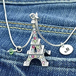 Eiffel Tower Customizable Paris Multi Color Pendant Sparkling Crystals Personalized Necklace Hand Stamped Initial Letter Round Tag Birthstone Charm Chain Gift Custom Jewelry