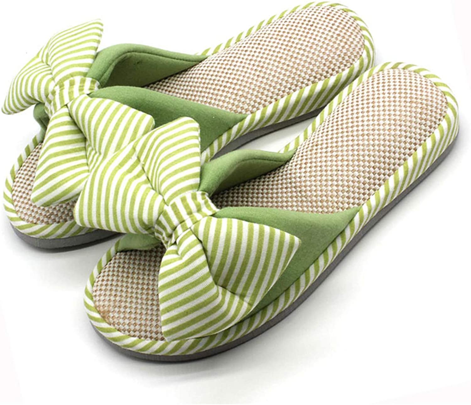 SANOMY Womens Warm Slippers Candy color Bowtie Flats Flax Cotton Floor shoes for Winter Indoor Home