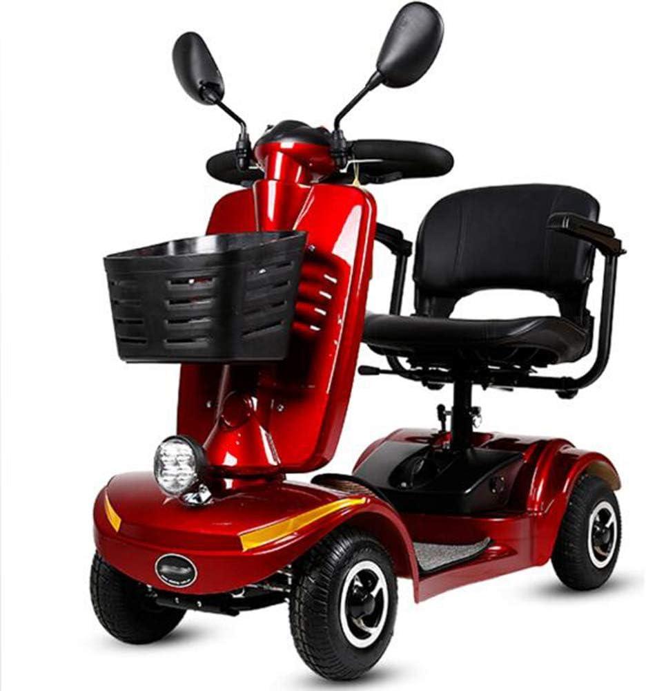YOLL Moto para Personas Mayores,Scooter Electrico Plegable Minusválidos Plegable Litio 0-10km/h 250w Motor,Patinete Compacto 4 Ruedas,360° Asiento Giratorio,Sistema Inteligente Eléctrico a