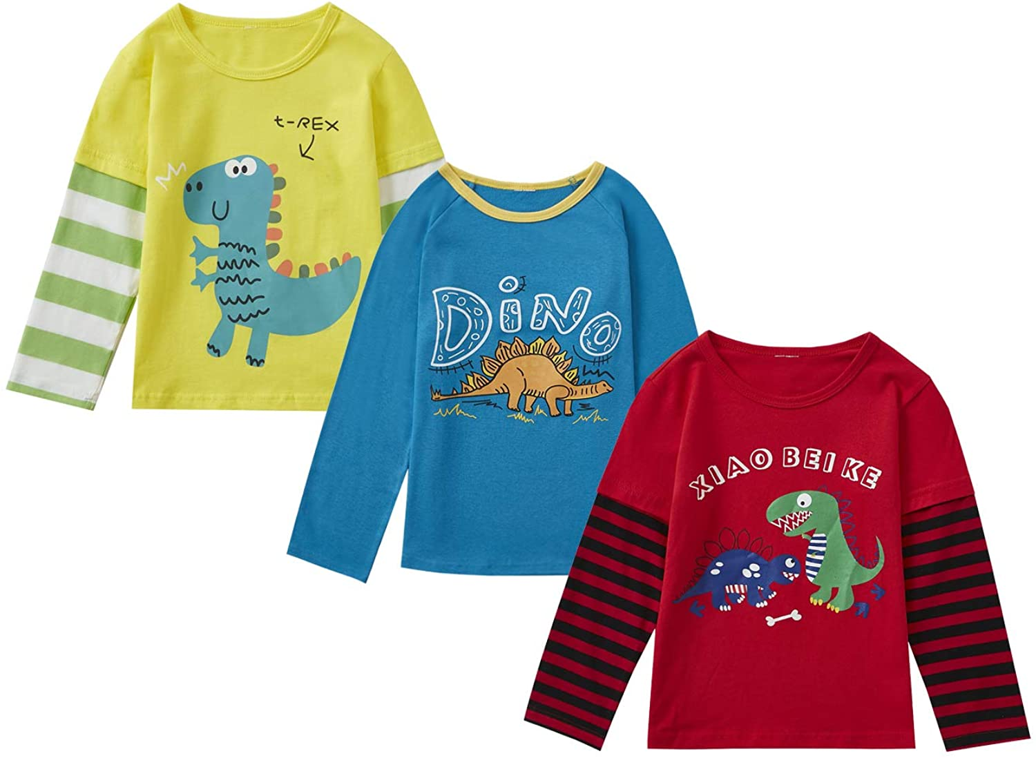 Boys Year-end annual account Shirt Tops OFFicial mail order 2 Pieces of 3 Round Children's W red Neck Shirts