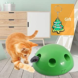 Interactive Cat Toys - Cat Training Exercise Funny Play Toys Rotating Feather Mouse - Cat Kitten Automatic Spinning Chase Toy Low Noise