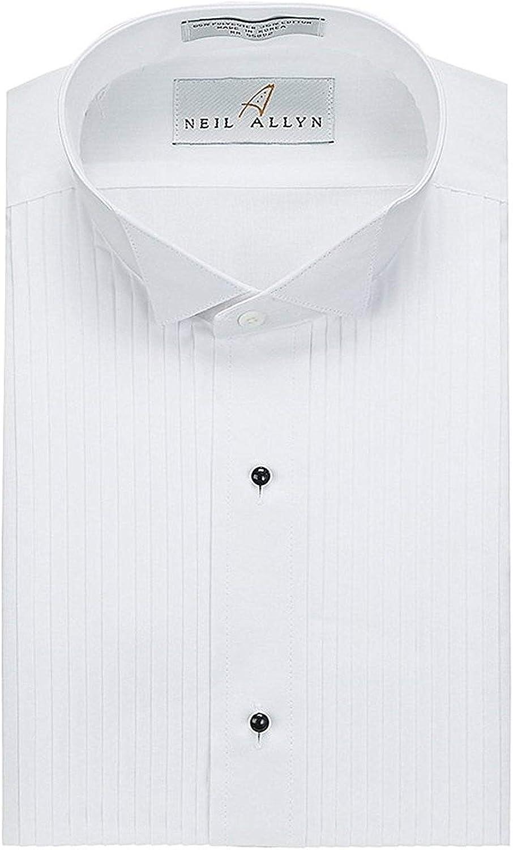 Neil Allyn Mens Tuxedo Shirt Poly//Cotton Wing Collar 1//4 Inch Pleat