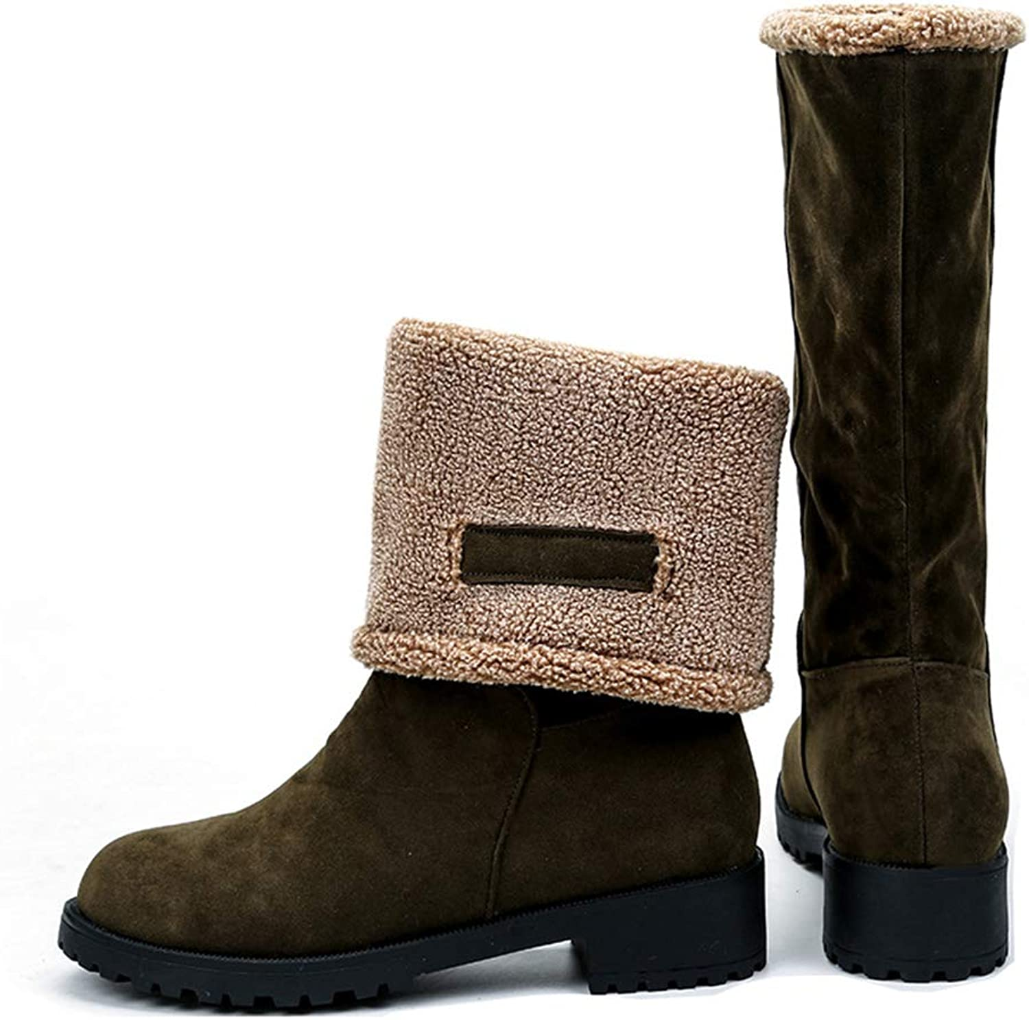 A-LING Women's Cotton Boots Casual Sleeve Booties Slip On Martin Boots