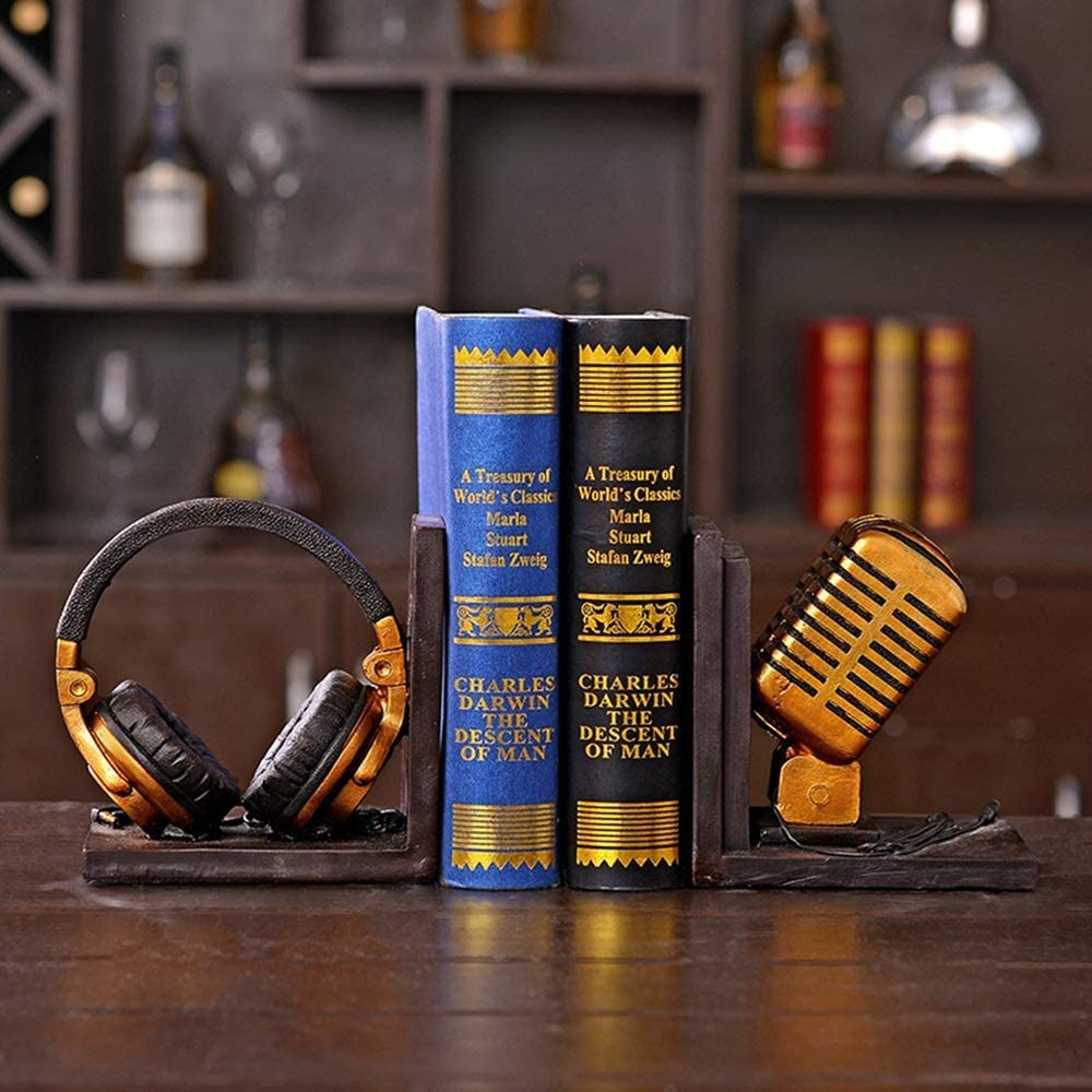 JF-XUAN Bookends Creative Some reservation Gifts Cheap SALE Start Resin Book Headphones Microphone