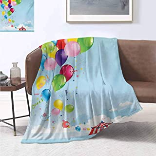 jecycleus Circus Luxury Special Grade Blanket Circus Tent and Balloons Clouds Horizon Skyline Fantasy Party Fun Entertainment Multi-Purpose use for Sofas etc. W91 by L60 Inch Multicolor