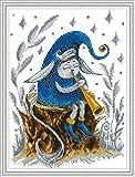 YEESAM ART Kit de punto de cruz con sello para adultos principiantes, elfos jugando la trompeta 11CT 34×43 cm Kit de costura de bordado DIY con patrones preimpresos fáciles divertidos de Navidad (elf)