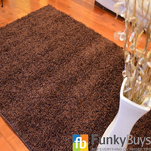 FunkyBuys Shaggy Rug Plain 5cm Thick Soft Pile Modern 100% Berclon Twist Fibre Non-Shed Polyproylene Heat Set - AVAILABLE IN 6 SIZES On Amazon (Chocolate Brown, 66cm x 110cm (2ft 3' x 3ft 7'))