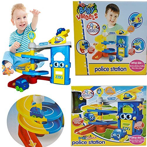 NEW KIDS POLICE STATION CARS PARKING GARAGE W/ SQUEEZABLE SOFT CARS ROADE TRACK TOY CHILDREN ROLE PLAY FUN ACTIVITY SET XMAS GIFT by FunkyBuys