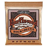 Ernie Ball Earthwood Rock et Blues avec cordes guitare acoustique en bronze phosphoreux Plain Gauge - jauge 10-52
