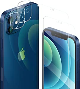 iPhone 12 Mini HD Clear Tempered Glass Screen Protector + Camera Lens Protectors by YEYEBF, [2+2 Pack] [Anti-Shatter][3D Glass][Case-Friendly] Screen Protector Glass for iPhone 12 Mini