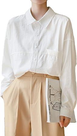 Mujer Camisa Blanca Recta de Manga Larga de Corte Clásico con ...
