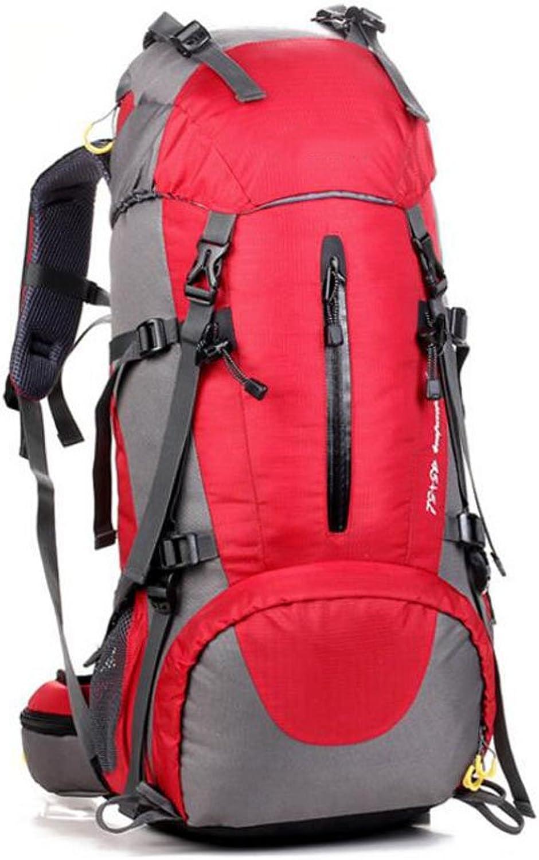 ZGJQ Mnner und Frauen Outdoor-Rucksack Bergsteigen Tasche 45 + 5L Groe Kapazitt Wasserdichte Tasche Outdoor-Camping Sporttasche Outdoor-Ausrüstung (Farbe   Rot)