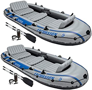 Intex Excursion 5 Person Inflatable Rafting and Fishing Boat w/ 2 Oars