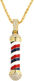"""Fashion Hip Hop Barber Iced Out Necklace for Men, Rotating Barbershop Pendant Ashes Choker Necklace Come with 24"""" Cuban Chain"""