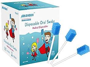 100PCS سواب های مراقبت از دهان یکبار مصرف ، بسته بندی شده انفرادی MELONSUN بسته بندی شده استریل اسفنجی استریل بدون طعم برای تمیز کردن دهان (مردم و حیوانات خانگی) (رج ، آبی)