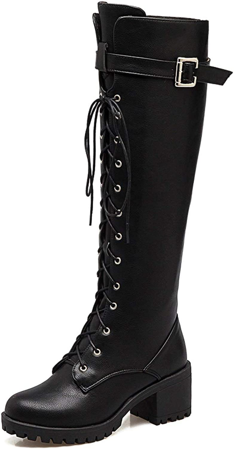 Spring Autumn Lacing Knee High Boots Women White Square Heeln Leather shoes