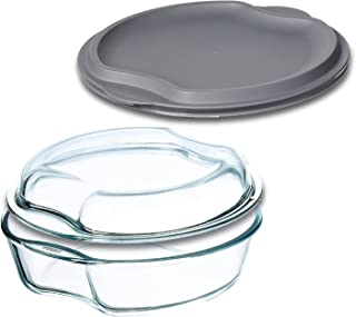 Simax Casserole Dish For Oven: Round Glass Casserole Set With Lids - 1 Glass and 1 Plastic Cover – Clear Baking Pan - Oven...