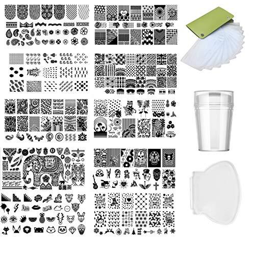 PEPAXON Nail Plates Nail Stamping Plates Set 12 Nail Plate Template 1 Stamper 1 Scraper 1 Storage Bag