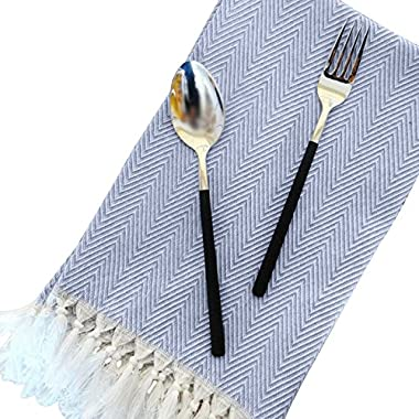 100% Linen Cotton Dinner Napkins - 4 Pack 15  x 23  Natural Square Kitchen Cloth, Tassel Design Table Dish Cloth ,Ideal for Events and Regular Home Use,Wedding,Grey