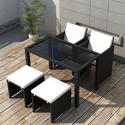 binzhoueushopping Jeu de mobilier de Jardin 11 pcs Dimensions de la Chaise 52 x 56 x 85 cm (l x P x H) et Profondeur du siège 40 cm Noir mobilier Deco Résine tressée