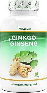 Ginkgo + Ginseng - 365 Comprimidos - Extracto especial - Alta dosis - Ginkgo Biloba + Ginseng coreano - Calidad Premium - ...
