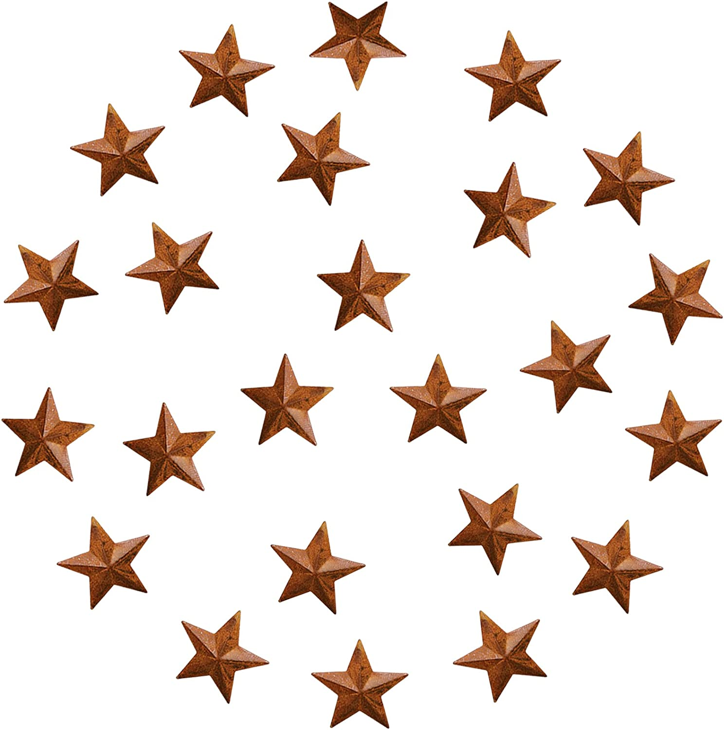 JIOSSNN Metal Barn Star – Star Wall Decor, Rusty Small Metal Stars for Crafts , Primitive Rusty Rustic Vintage Gift Western Country Home Farmhouse Wall Decor 2-Inch, Set of 24. (rusty)
