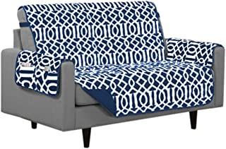 Linen Store Dallas Quilted Reversible Microfiber Furniture Protector with Strap and Pockets, Navy, Loveseat