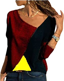 Womens' Regular-Fit Shirts Casual Tee Shirts Long Sleeve Patchwork Color Block Loose Fits Tunic Tops Blouses