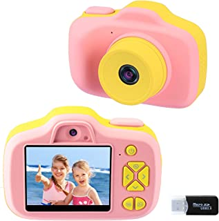 Kids Digital Camera Gifts for Girls 3-9 Years Old, Selfie Video Cameras for Children, Toddler Mini Shockproof Soft Silicone 1080P Learning Toy Camera Birthday Halloween for Little Girls