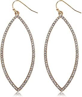 Humble Chic Hoop Dangle Earrings - Simulated Diamond Marquise Teardrop Statement Rhinestone Drops