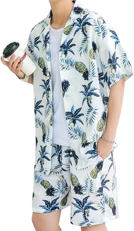 Ueioc Men Shirt Casual Short Sleeve 2 Piece Set Beach Summer Hawaiian Shorts