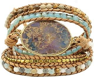 Bonnie Gold Plated Wrap Natural Stones Leather Wrap Around Stone Bracelet 5 Layer Natural Jasper Crystal Beaded Leather Bohemian Tribal Bracelet (Purple Imperial Jasper)