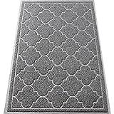 LuxStep Door Mat Large 24x36 Inch Indoor Outdoor Doormat, Non-Slip Low-Profile Design Floor Mat, Durable Trap Dirt and Dust Front Door Welcome Mat for Entryway,Patio,High Traffic Areas, Light Grey