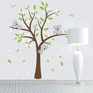 Fymural Bear Tree Wall Stickers - Wall Mural Wallpaper Decal for Livingroom Kid Baby Nursery Room Vinyl Removable DIY Decals 63x74.8,Green+Brown