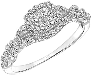 Brilliant Expressions 14K White Gold 1/3 Cttw Conflict Free Diamond Cushion Cluster Halo Twisted-Band Engagement Ring (I-J Color, I2-I3 Clarity)