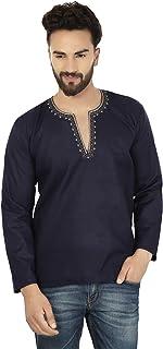 Embroidered Fashion Shirt Men's Short Kurta Cotton Indian Clothing
