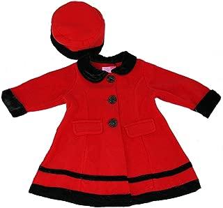 Fleece Coat w/Black Velvet Trim and Matching hat