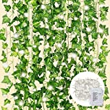 Cqure guirnalda de hiedra artificial de 84 pies, guirnalda de hiedra falsa, hojas verdes, plantas colgantes con 100 luces led para decoración de pared de boda, fiesta, jardín, 12 unidades