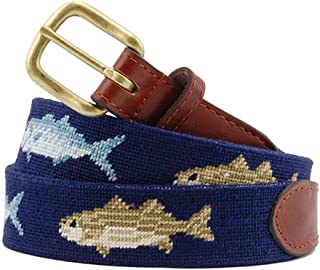 Bluefish and Striper Needlepoint Belt in Dark Navy by Smathers & Branson