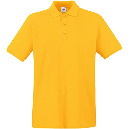 3d3ff04b Fruit of the Loom New Premium Self Coloured Buttons Mens Cotton Polo T-Shirt