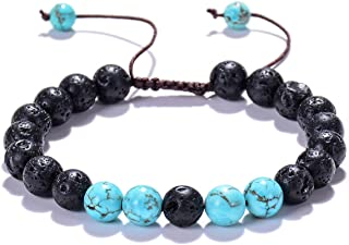 WIGERLON Adjustable Natural Lava Rock Stone Beads Essential Oil Anxiety Diffuser Bracelet& 8 Chakras Bracelet for Men and ...