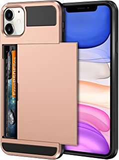 Vofolen Case for iPhone 11 Case Wallet Credit Card Holder ID Slot Sliding Door Hidden Pocket Anti-Scratch Dual Layer Hybrid Bumper Armor Protective Hard Shell Back Cover for iPhone 11 6.1in Rose Gold