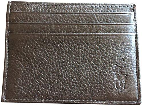 Polo Ralph Lauren Men Big Pony Logo Pebbled Leather Slim Card Case Wallet Brown