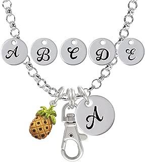 Enamel Pineapple Custom Initial Badge Clip Necklace