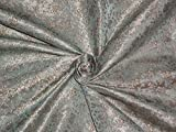 Seide Brokat Stoff blau, silber X senf 111,8cm by the