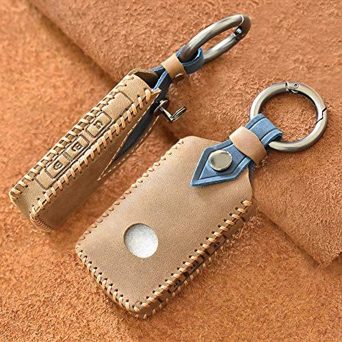 HUAQIANYU Car Key Cover Key Holder Key Case & Eacute; Coche inteligente - Para Mazda 3 Axela Cx-30 2019 2020 Cx-5 Cx-8 Cx-9 2020 - Piel de vacuno - 3 botones - Azul marrón